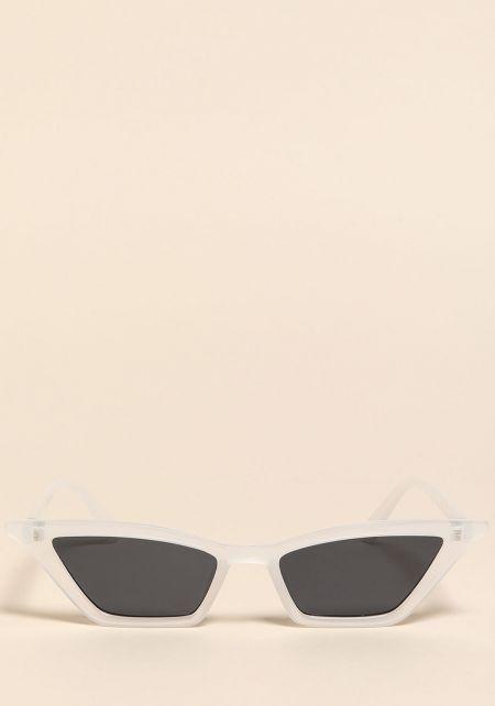 Clear Skinny Cat Eye Sunglasses