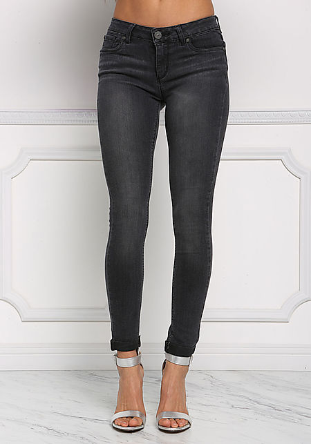 Black Cuffed Low Rise Skinny Jeans