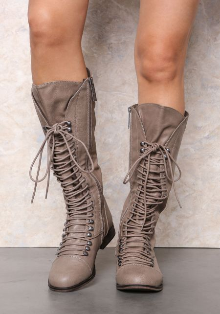 Beige Laced Up Knee High Boots