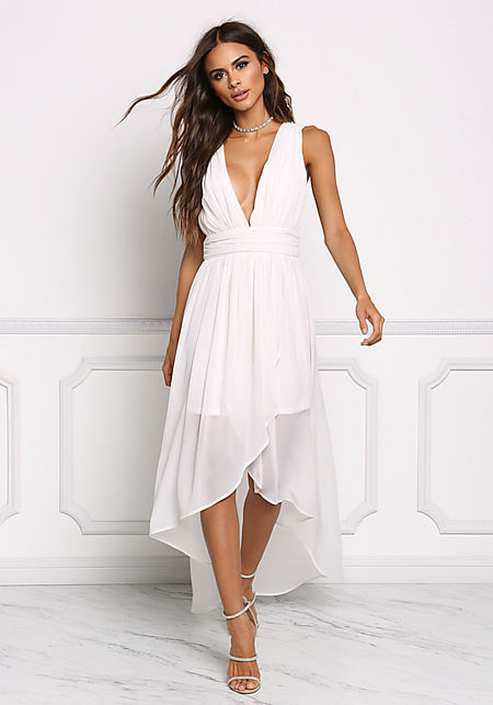 Cream Chiffon Plunge Hi-Lo Dress