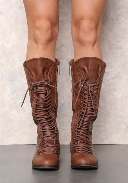 Tan Laced Up Knee High Boots