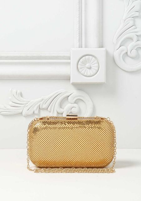 Gold Flat Metal Stud Clutch