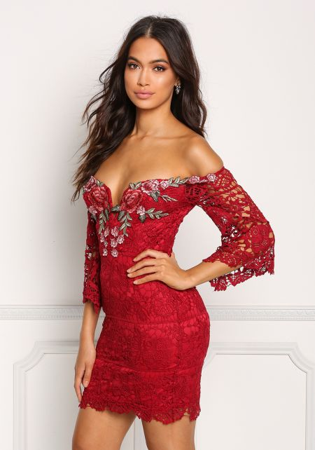 Burgundy Off Shoulder Rose Applique Embroidered Dr