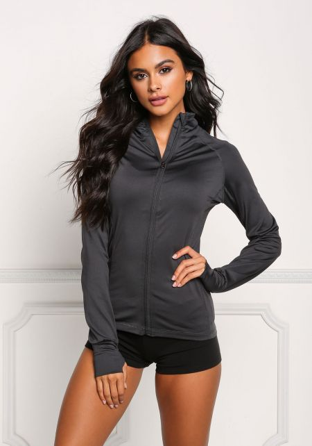 Charcoal High Neck Zip Active Sweater