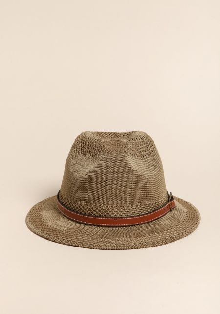 Taupe Knit Belted Fedora