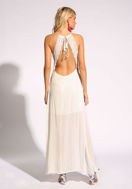 White Open Back Crepe Maxi Dress