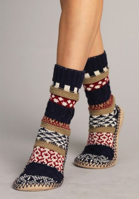 Navy Thick Knit Printed Sock Slippers