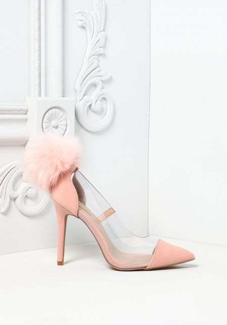 Blush Perspex Pom Pom Pointed Toe Heels