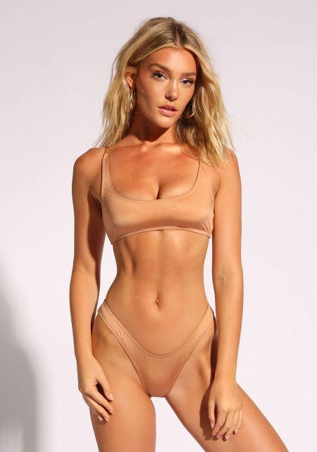 Nude Metallic Solid Swimsuit Bikini Bottoms