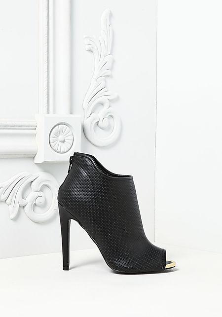 Black Leatherette Peep Toe Perforated Booties