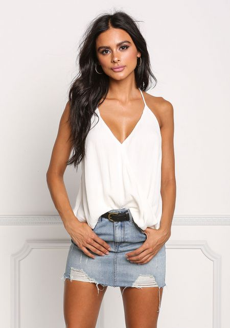 White Crepe Surplice Halter Tank Top