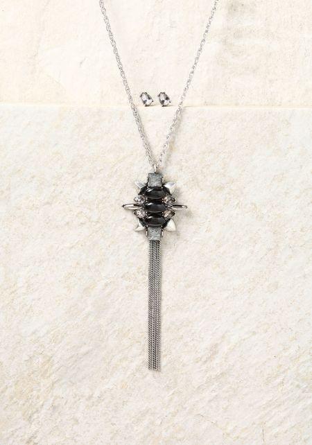 Silver and Black Rhinestone & Pendant Tassel Neckl