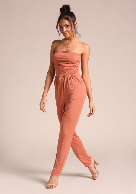 Apricot Strapless Ruched Jumpsuit