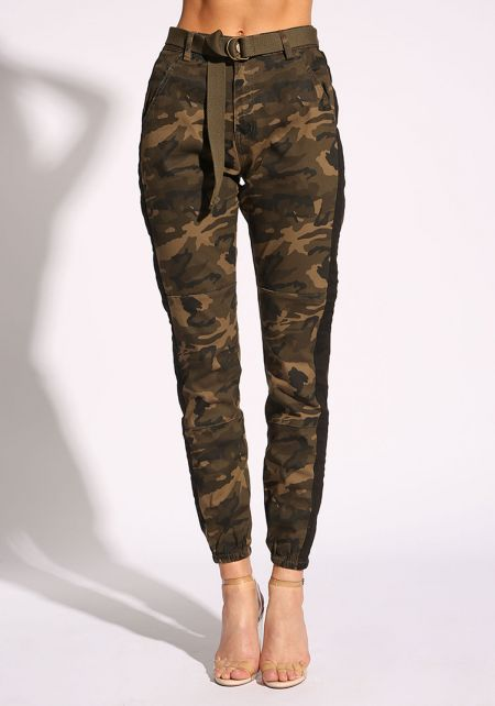Camouflage Belted Side Stripe Jogger Pants