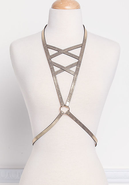 Gold Metallic Harness Body Chain