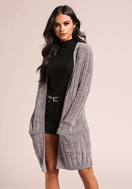 Taupe Soft Thick Ribbed Knit Pocket Cardigan