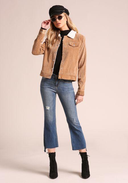 Camel Corduroy Faux Shearling Jacket