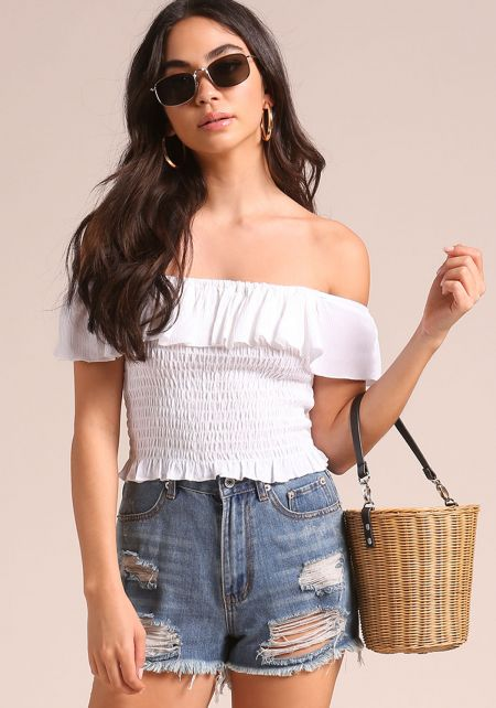 White Off Shoulder Smocked Crop Top