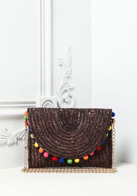 Black Pom Pom Straw Crossbody Bag