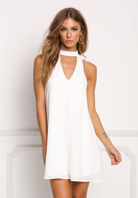 Off White Cut Out Choker Shift Dress