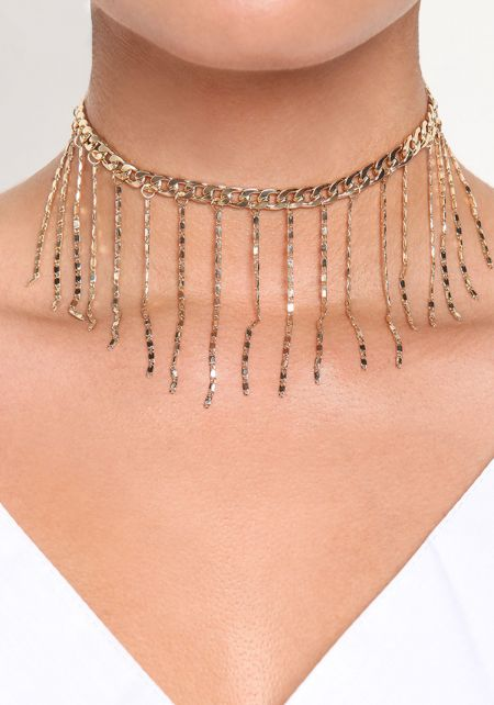 Gold Thin Fringe Choker