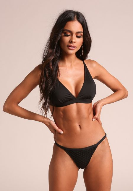 Black Mesh Net Swimsuit Bikini Bottoms