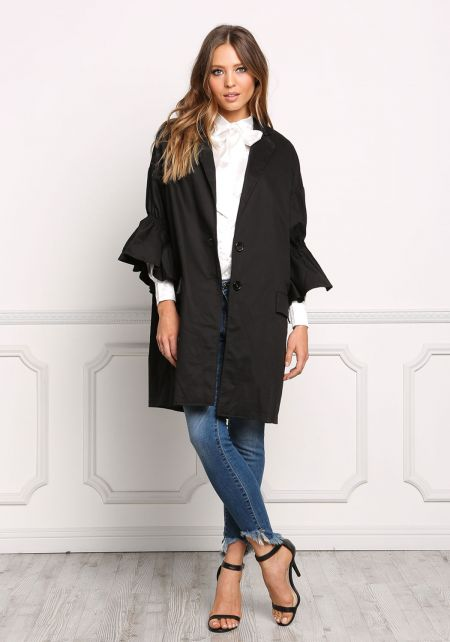 Black Ruffle Sleeve Boxy Coat