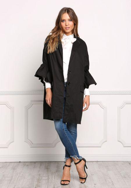 Black Ruffle Sleeve Boxy Coat