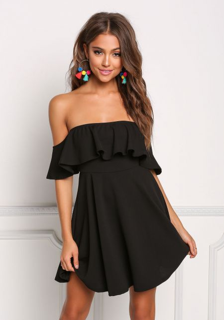 Black Ruffle Flared Off Shoulder Dress