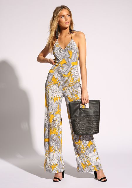 Mustard Tropical Leaf Halter Jumpsuit