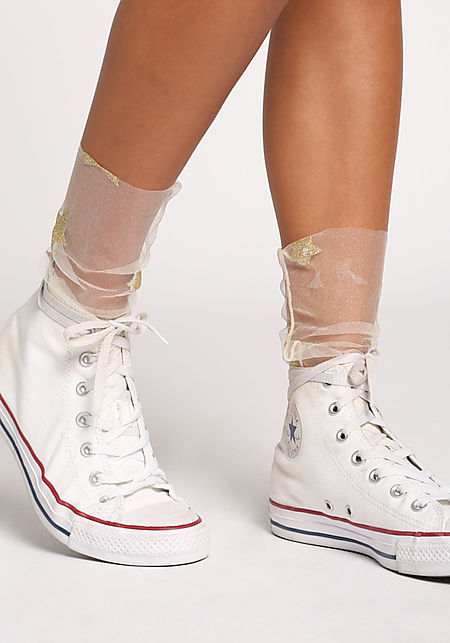Gold Tulle Metallic Star Socks