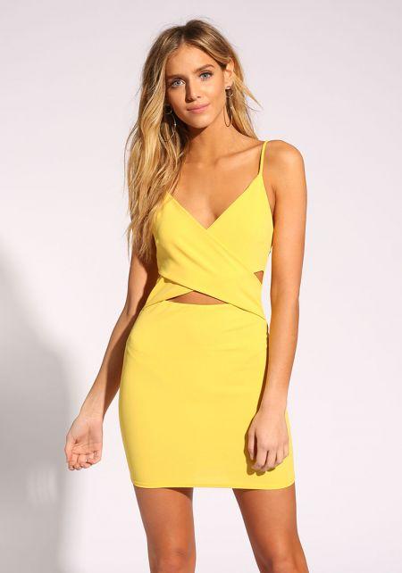 Yellow Cross Over Bodycon Dress