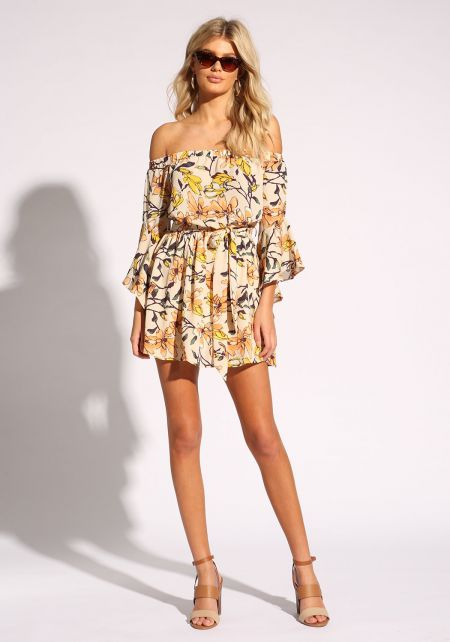 Yellow Floral Bell Sleeve Flared Dress
