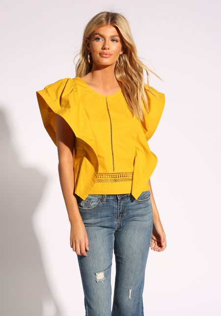 Mustard Voluminous Sleeve Embroidered Blouse