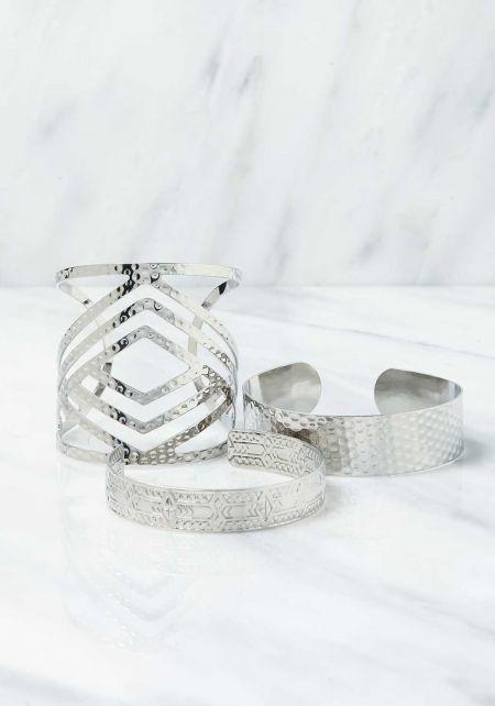 Silver Textured Cuff Bracelet Set