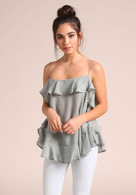 Dusty Sage Ruffle Tie Back Tank Top