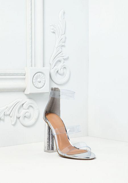 Silver Clear Strap Glitter Heels
