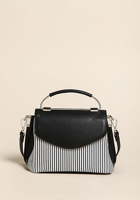 Black Pinstripe Leatherette Tote Bag