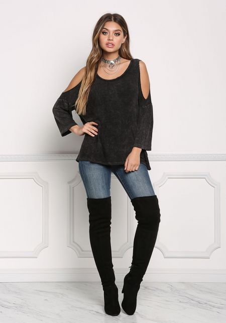 Black Cold Shoulder Acid Wash Top