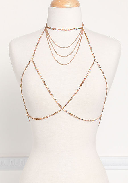 Gold Layered Multi Chain Bralette