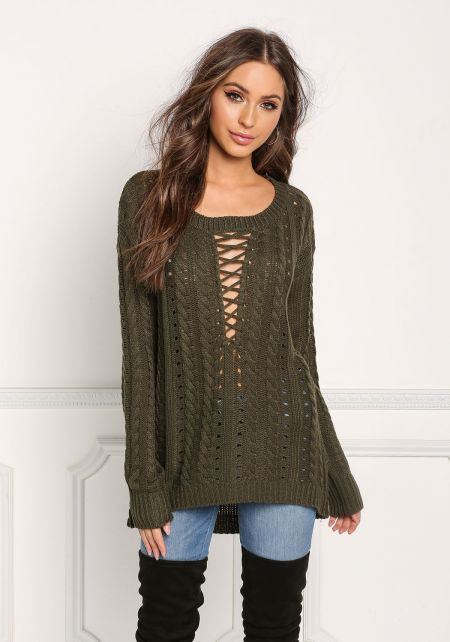 Olive Plunge Cross Strap Cable Knit Sweater Top
