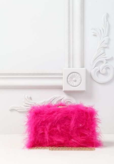 Fuchsia Fuzzy Faux Feather Clutch