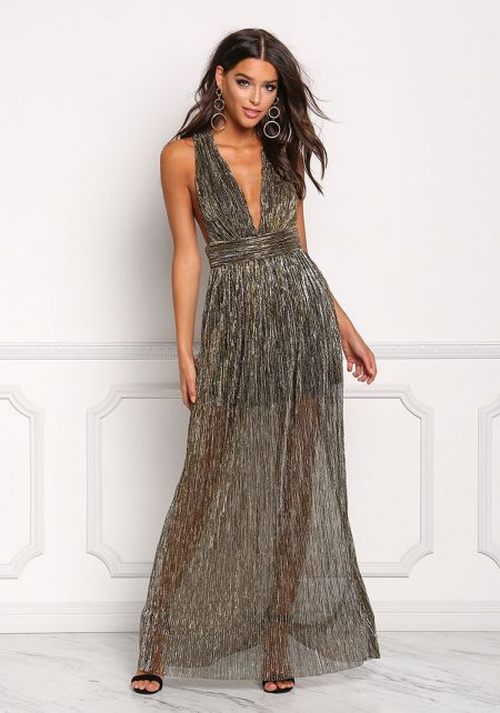 Black Plunge Twisted Metallic Maxi Dress