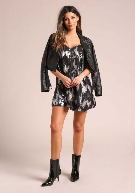 Black Sequin Back Caged Shift Dress