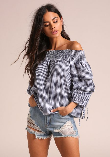 Navy Gingham Puff Sleeve Blouse