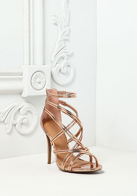 Rose Gold Chrome Multi Cross Strap Heels