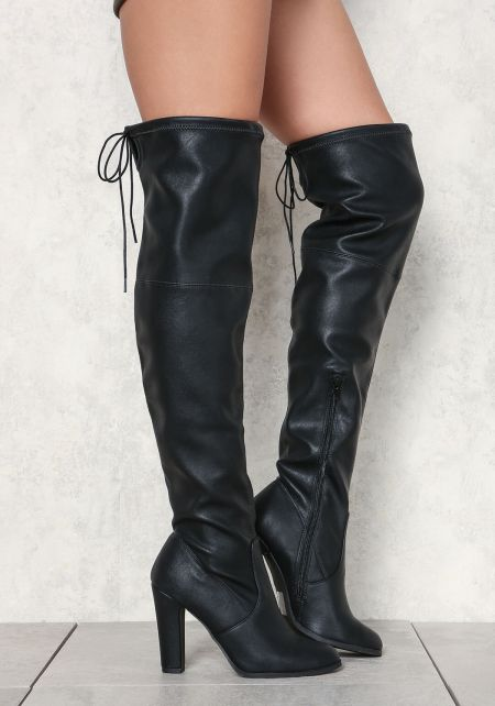 Black Leatherette Over The Knee Boots