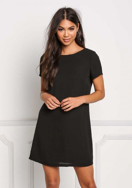 Black Basic Shift Dress
