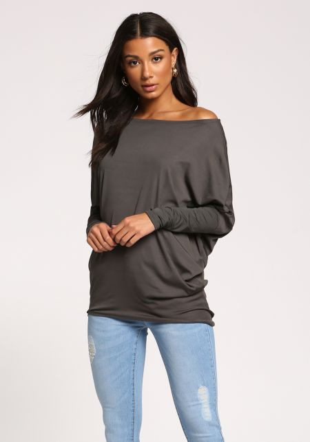 Sea Green Off Shoulder Dolman Knit Top