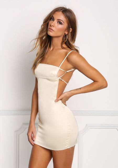 Cream Silky Strappy Open Back Bodycon Dress